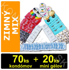 Mix na zimní sex 70 kondómů + 20 mini gelů