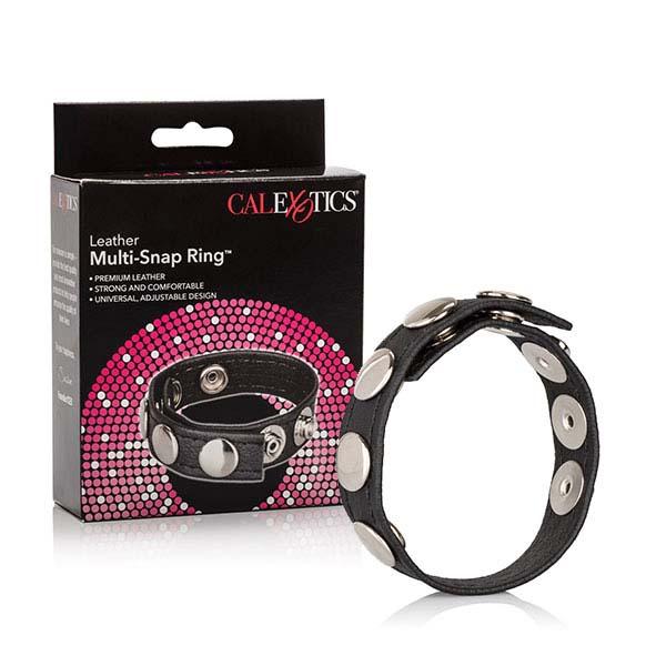 CalExotics Leather Multi-Snap Ring kožený kroužek na penis