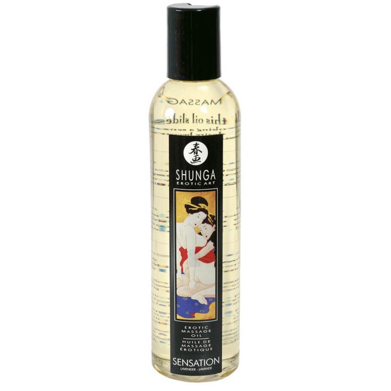 Shunga Sensation erotický masážní olej Levandule 250ml